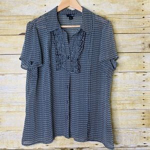 East 5th Blouse Sheer Buttondown Short Sleeve XL